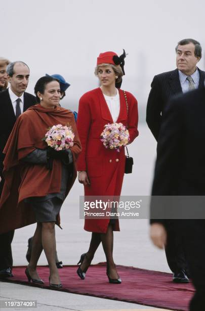 Diana, Princess of Wales arrives at Orly Airport near Paris, France, and is met by Michèle Rocard , the wife of French Prime Minister Michel Rocard,...