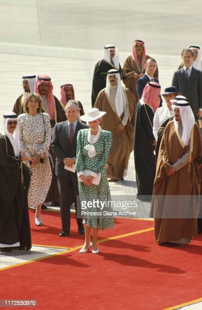 Diana, Princess of Wales arrives at Riyadh airport in Saudi Arabia, wearing a dress from Tatters, November 1986.