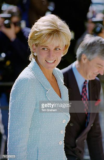 Diana, Princess of Wales arrives at the British Lung Foundation in Hatton Garden to be presented with a rose named after her