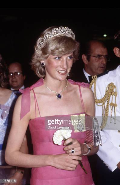 Diana Princess of Wales arrives at the Crest Hotel in Brisbane Australia on April 10 1983 for a reception during the Royal Tour of Australia Diana...