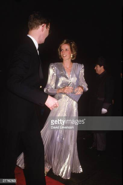 Diana Princess of Wales arrives at the Grosvenor House Hotel on March 26 1985 in London for a Fashion show in a aid of Dr Barnado's Homes Diana wore...