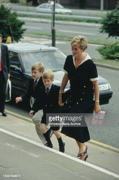 Diana Princess of Wales arrives at the Queen's Medical Centre in Nottingham with her sons Prince William and Prince Harry to visit Prince Charles 4th...