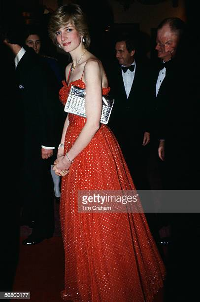 Diana, Princess of Wales arrives at the Royal Opera House, Covent Garden, London, for a charity gala performance, 8th December 1982. The Princess is...