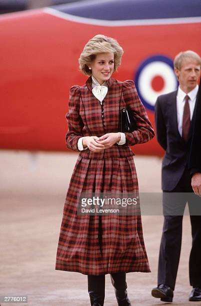 Diana Princess of Wales arrives during a visit to Swindon Wiltshire