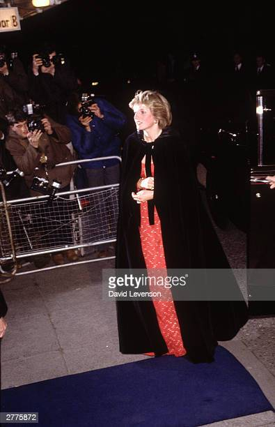 Diana Princess of Wales arrives for a concert at the Royal Albert Hall in London on March 14, 1982.
