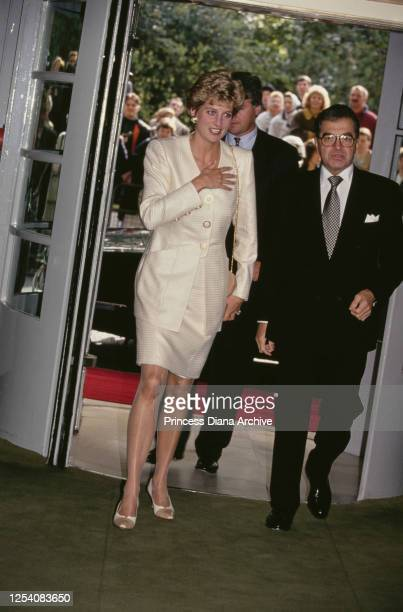 Diana Princess of Wales arrives to present the Business Traveller Awards at the Savoy Hotel in London 14th October 1993