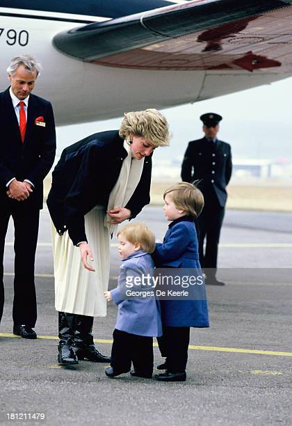 Diana Princess of Wales arrives with her sons Prince Harry and Prince William at Aberdeen Airport on March 14 1986 in Aberdeen Scotland