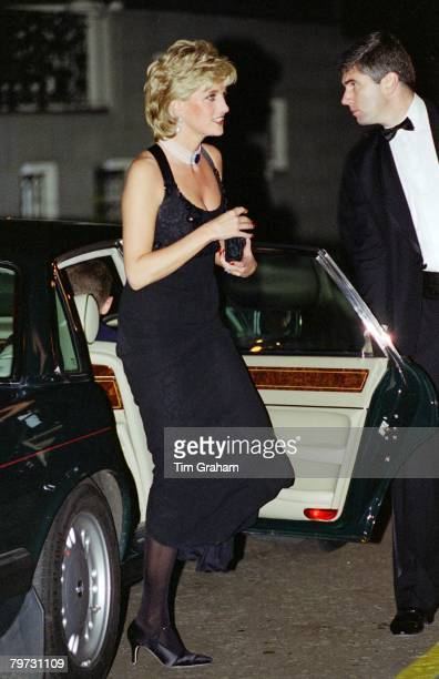 Diana Princess of Wales arriving at a Gala evening in aid of Cancer Research at Bridgewater House in London Her dress has been designed by Jacques...