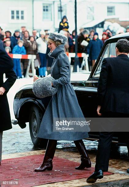 Diana Princess Of Wales Arriving At Gloucestershire Cathedral For A Christmas Service Wearing A Kossack Style Russian Hat And Muff