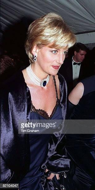 Diana, Princess Of Wales Arriving At Metropolitan Museum Of Art In New York For Costume Institute Ball.