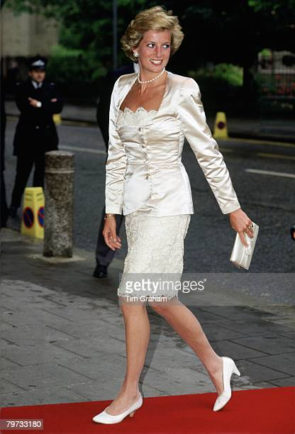 Diana Princess of Wales arriving at Sadlers Wells Theatre London Her outfit is by fashion designer Bruce Oldfield