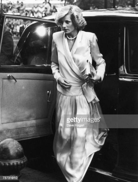 Diana, Princess of Wales, arriving at the premiere of 'Indiana Jones And The Temple Of Doom' in Leicester Square only a few weeks before giving birth...