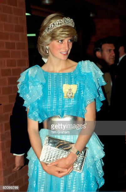 Diana Princess Of Wales Arriving For A Dinner Hosted By The Province Of New Brunswick The Princess Is Wearing The Diamond Spencer Tiara She Has...