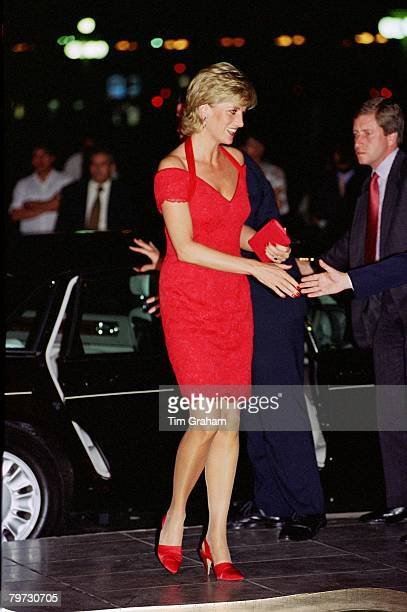 Diana Princess of Wales arriving for a dinner in Argentina Her dress is designed by fashion designer Catherine Walker