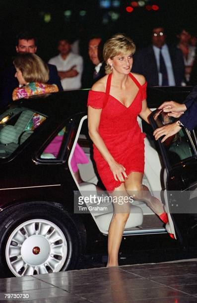 Diana, Princess of Wales, arriving for a dinner in Argentina, Her dress is designed by fashion designer Catherine Walker