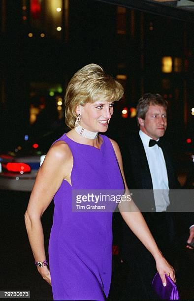 Diana Princess of Wales arriving for a gala dinner at The Field Museum of Natural History in Chicago Diana is wearing a dress by fashion designer...