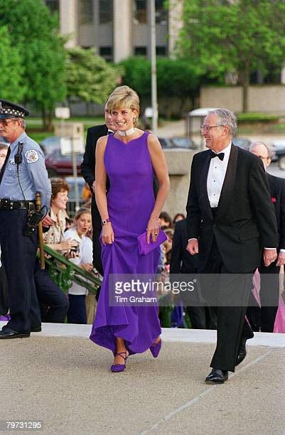 Diana, Princess of Wales arriving for a gala dinner in Chicago, Her dress is by designer Versace and her shoes by Jimmy Choo