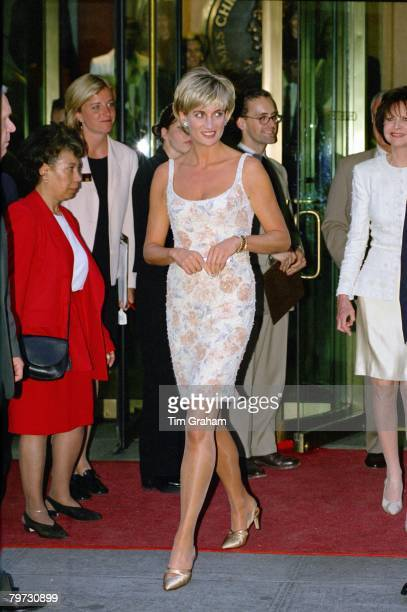 Diana, Princess of Wales arriving for a gala party to launch the Christie's dress auction to raise money for her charities, She is wearing a cocktail...