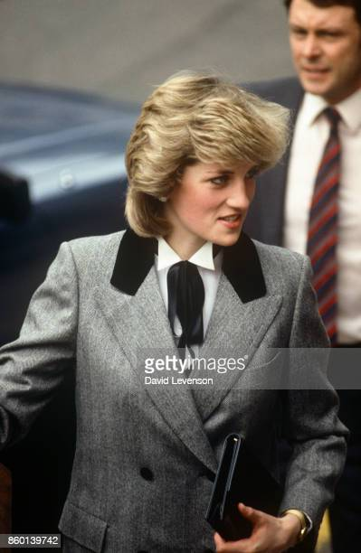 Diana Princess Of Wales Arriving for A Visit To Barnados Children's Charity of Which She Is Patron on November 8 1984 Her Outfit Was Described As A...