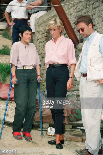 Diana, Princess of Wales as she makes a three day visit to Bosnia - Herzegovina as part of her campaign to raise awareness about the devastating...