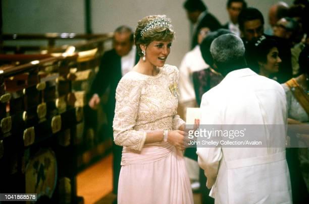 Diana Princess of Wales at a banquet for the new Emperor of Japan Akihito 12th November 1990