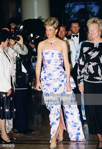 Diana, Princess of Wales at a bicentennial dinner-dance in Melbourne, during a royal tour of Australia, Diana's dress has been designed by Catherine...