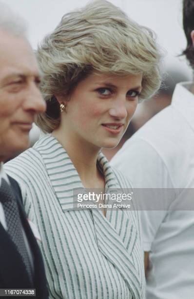 Diana, Princess of Wales at a Birthright charity polo match on Smith's Lawn, at the Guards Polo Club in Windsor, UK, June 1985.