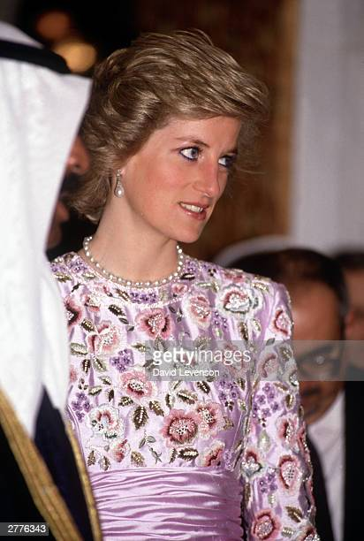 Diana Princess of Wales at a dinner at the Crown Prince's Palace in Kuwait in March 1989 during the Royal Tour of the Gulf Diana wore a dress...
