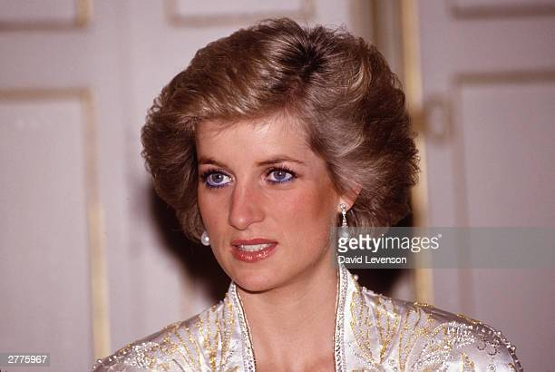 Diana Princess of Wales at a dinner given by President Mitterand in November 1988 at the Elysee Palace in Paris France during the Royal Tour of...