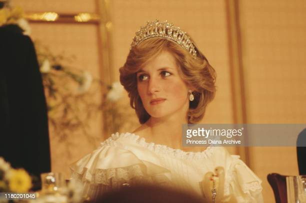 Diana Princess of Wales at a farewell State Banquet in Auckland at the end of the Royal tour of New Zealand 29th April 1983 The princess is wearing...
