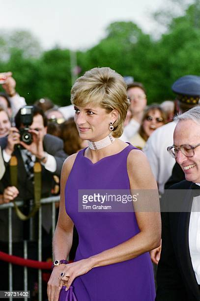 Diana, Princess of Wales at a Gala dinner at The Field Museum of Natural History in Chicago, She is wearing a dress by fashion designer Versace
