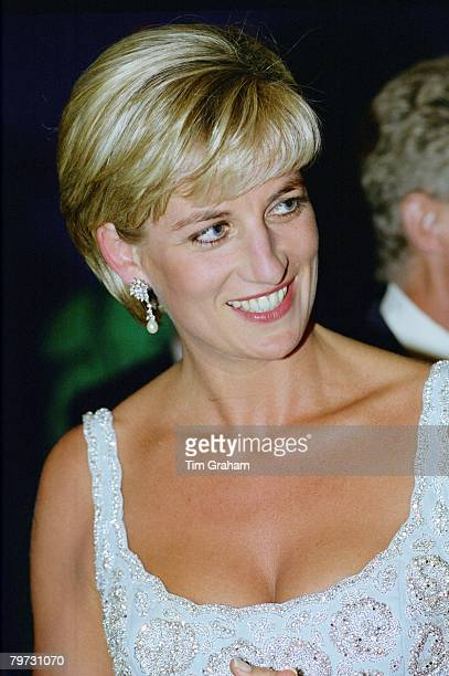 Diana Princess of Wales at a private viewing and reception at Christies in aid of the Aids Crisis Trust and The Royal Marsden Hospital Cancer Fund...