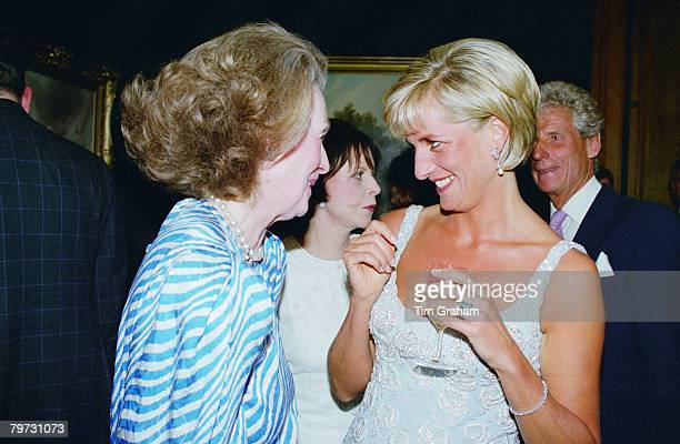 Diana Princess of Wales at a private viewing and reception at Christies in aid of the Aid Crisis Trust and The Royal Marsden Hospital Cancer Fund...
