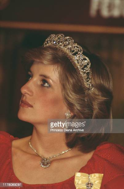 Diana Princess of Wales at a state reception in Hobart Tasmania April 1983 She is wearing the Spencer family tiara and the badge of the Royal Family...