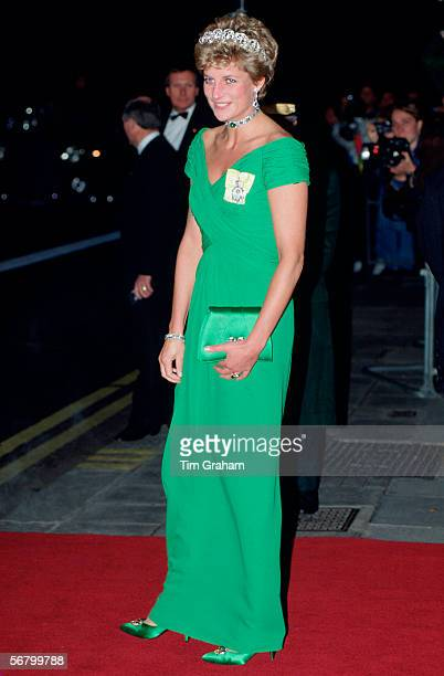 Diana Princess of Wales at an evening function at the Dorchester Hotel indress designed by fashion designer Catherine Walker.