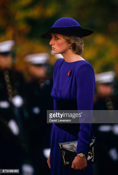 Diana Princess of Wales at Arlington cemetery on November 11 1985 in Washington DC USA Diana wore a dress designed by Bruce Oldfield