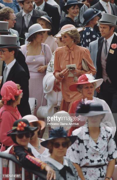 Diana Princess of Wales at Ascot racecourse in England June 1985 She is wearing a suit by Jan Van Velden and a hat by Frederick Fox