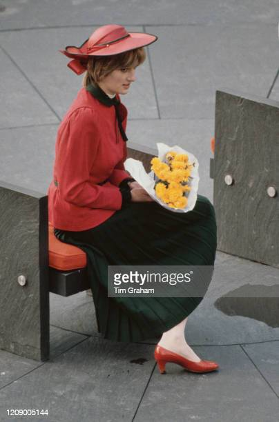 Diana Princess of Wales at Caernarfon Castle in Wales during an official visit 27th October 1981