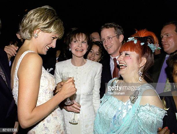Diana Princess Of Wales At Christies In New York For A Preview Party For dresses From The Collection Of Diana Princess Of Wales She Is Laughing With...