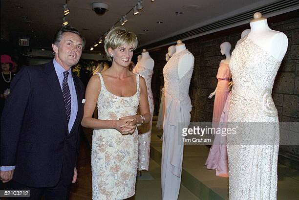 Diana Princess Of Wales At Christies In New York For A Preview Party For Dresses From The Collection Of Diana Princess Of Wales With Lord Hindlip...
