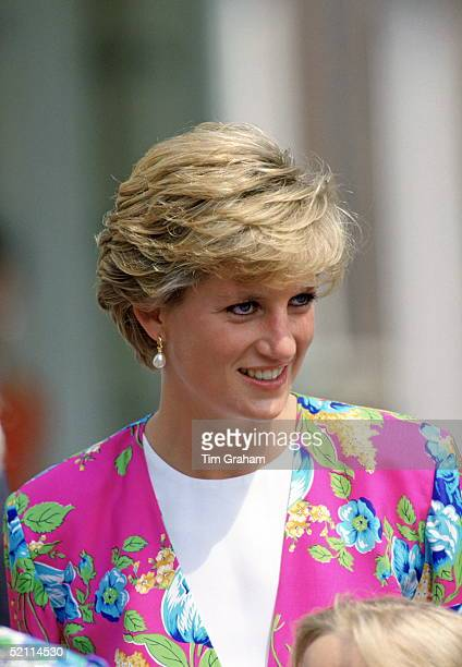 Diana, Princess Of Wales, At Clarence House To Celebrate The Q. Mother's 90th Birthday. The Princess Is Wearing A Bright Pink Floral Suit.