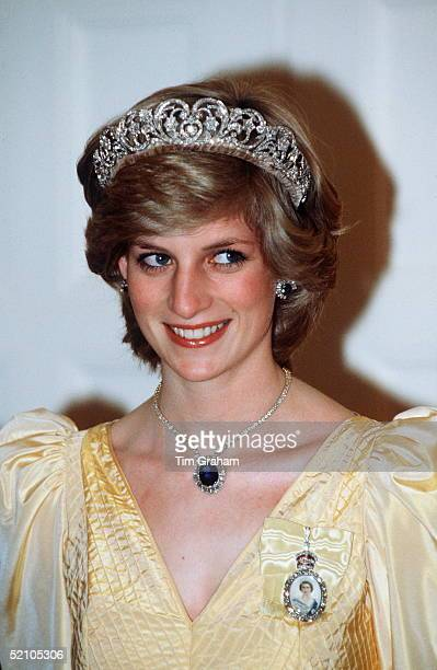 Diana Princess Of Wales At Government House Canberra Australia Wearing The Spencer Tiara The Royal Family Order Of The Queen And The Saudi Arabia...