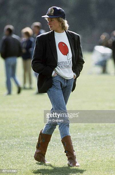 Diana Princess Of Wales At Guards Polo Club The Princess Is Casually Dressed In A Sweatshirt With The British Lung Foundation Logo On The Front Jeans...