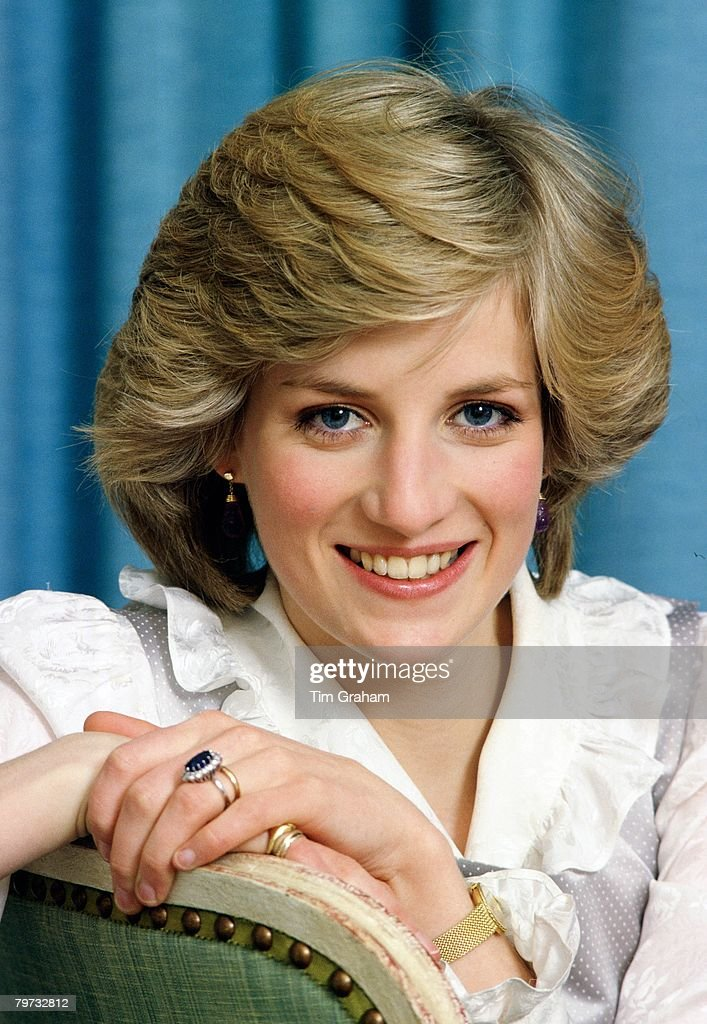 Diana, Princess of Wales at home in Kensington Palace : News Photo