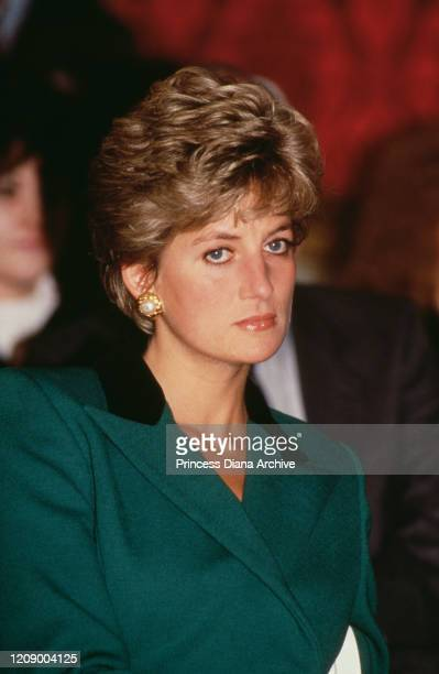 Diana, Princess of Wales at Lancaster House in London for the launch of the Department of Transport's Child Safety Campaign, October 1991. She is...
