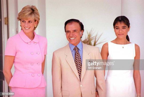 Diana Princess Of Wales At Lunch With President Menem And His Daughter Zulemita