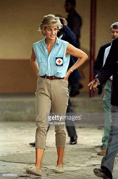 Diana Princess Of Wales At Neves Bendinha Orthopaedic Workshop In Luanda Angola Wearing A Badge For The British Red Cross Charity