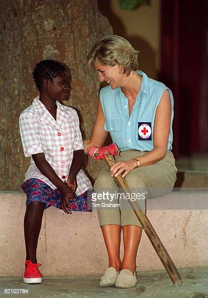 Diana Princess Of Wales At Neves Bendinha Orthopaedic Workshop In Luanda Angola With 13 Year Old Sandra Thijika From Saurino In The East Of Angola...