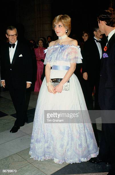 Diana Princess of Wales at 'Splendours of the Gonzaga' exhibition at the Victoria and Albert Museum wearing a dress designed by Bellville Sassoon.