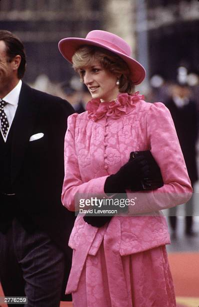 Diana Princess of Wales at the arrival of Queen Beatrix of Holland on November 16 1982 at Westminster Pier in London for a State Visit Her hat is a...